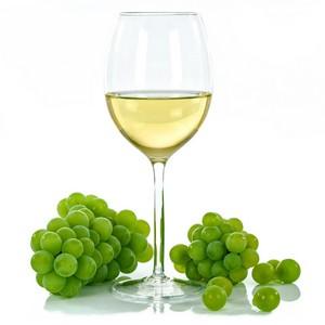 Vin blanc Muscadet, verre de vin et raisin